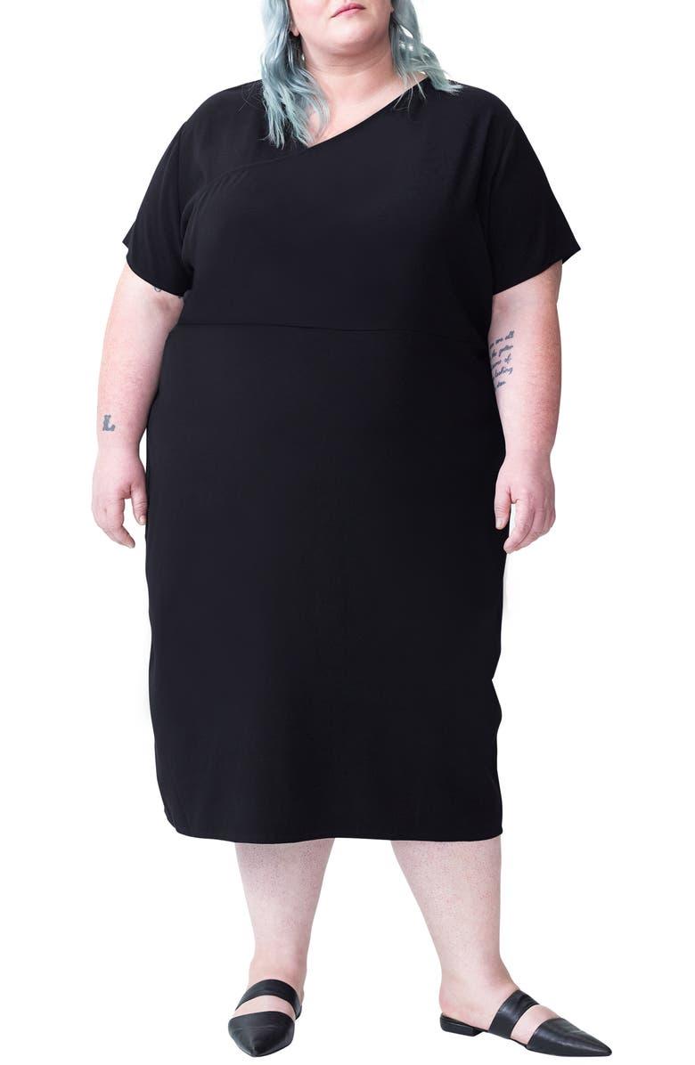 UNIVERSAL STANDARD Mary Midi Dress, Main, color, BLACK