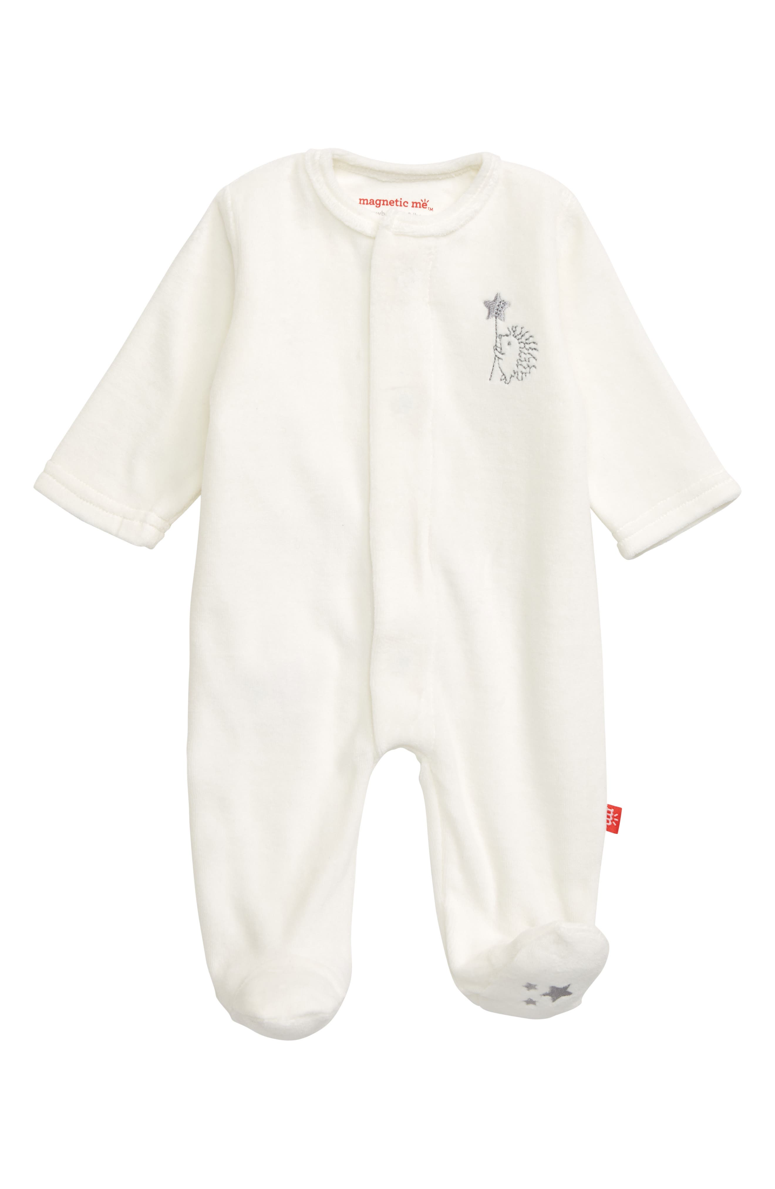 Infant Girls Magnetic Me Embroidered Velour Footie