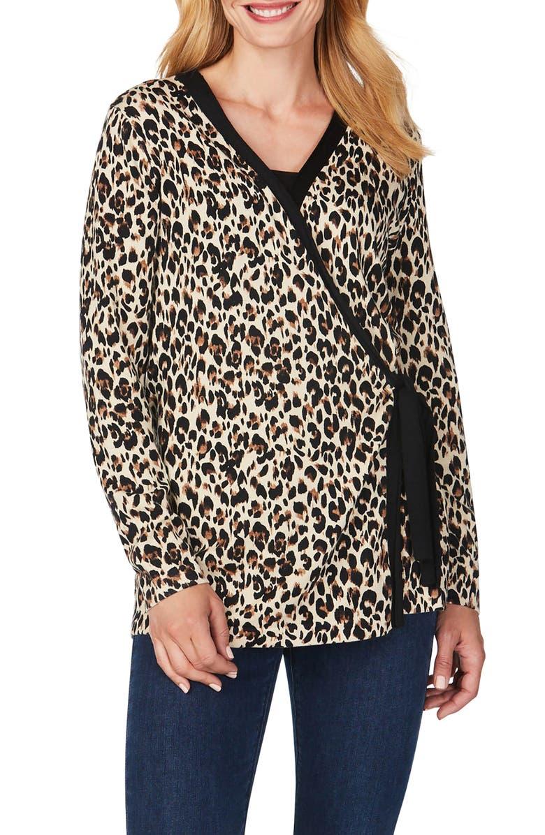FOXCROFT London Leopard Wrap Cardigan, Main, color, MULTI