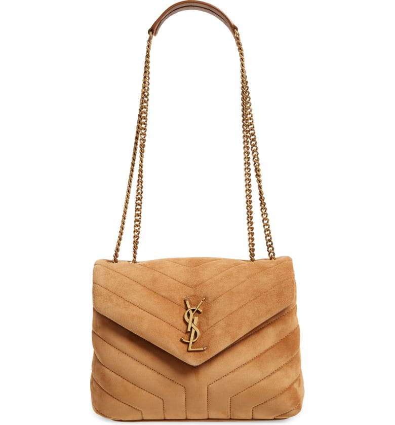 SAINT LAURENT Small LouLou Quilted Suede Shoulder Bag, Main, color, ORANGE