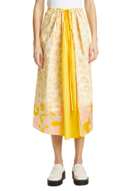 Marni WATERCOLOR LEOPARD PRINT DRAWSTRING MIDI SKIRT