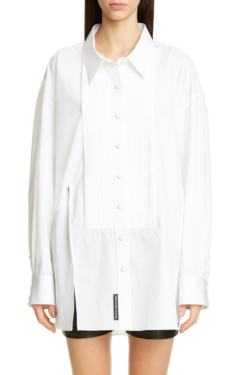 ALEXANDER WANG Oversize Tuxedo Shirt, Main, color, WHITE