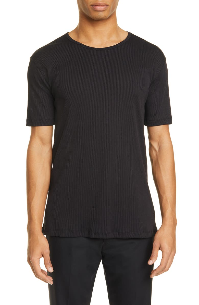 LEMAIRE Rib Organic Cotton Blend T-Shirt, Main, color, BLUE BLACK