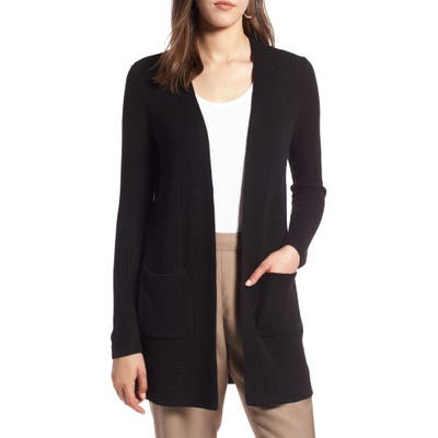 Petite Halogen Long Ribbed Cardigan, Black