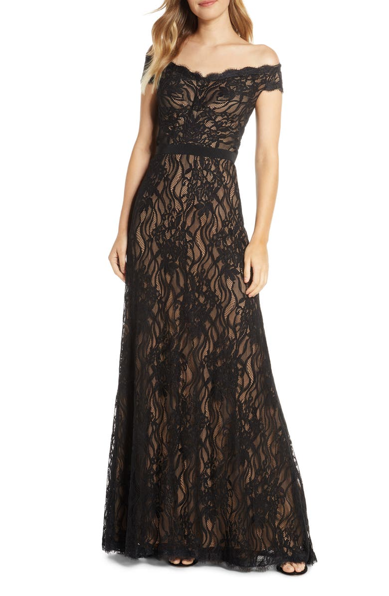 TADASHI SHOJI Off the Shoulder Lace Evening Gown, Main, color, BLACK/ NUDE