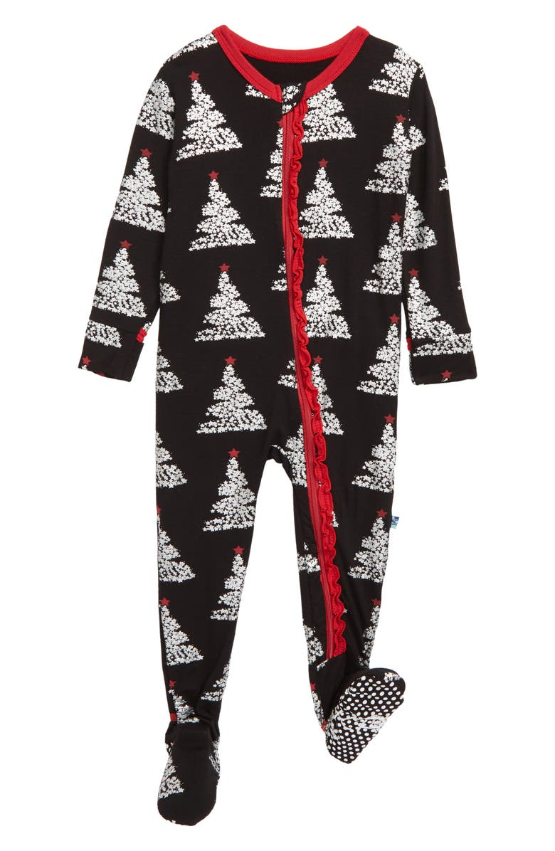 KICKEE PANTS Muffin Ruffle Jersey Footie, Main, color, MIDNIGHT FOIL TREE