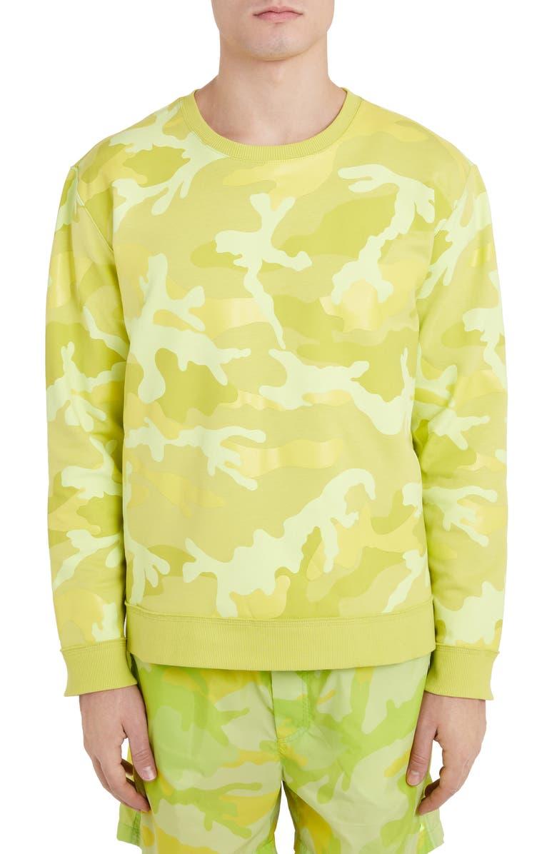 VALENTINO Camo Crewneck Sweatshirt, Main, color, YELLOW MULTI