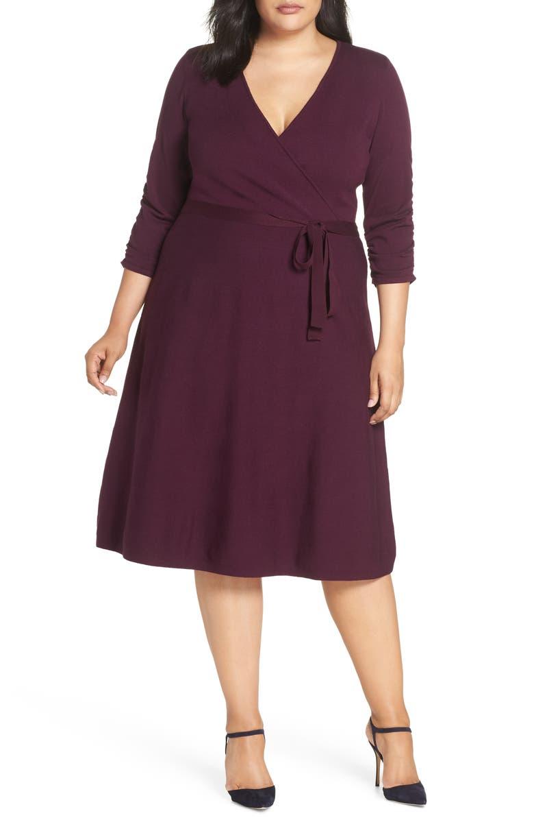 ELIZA J Midi Faux Wrap Dress, Main, color, 930