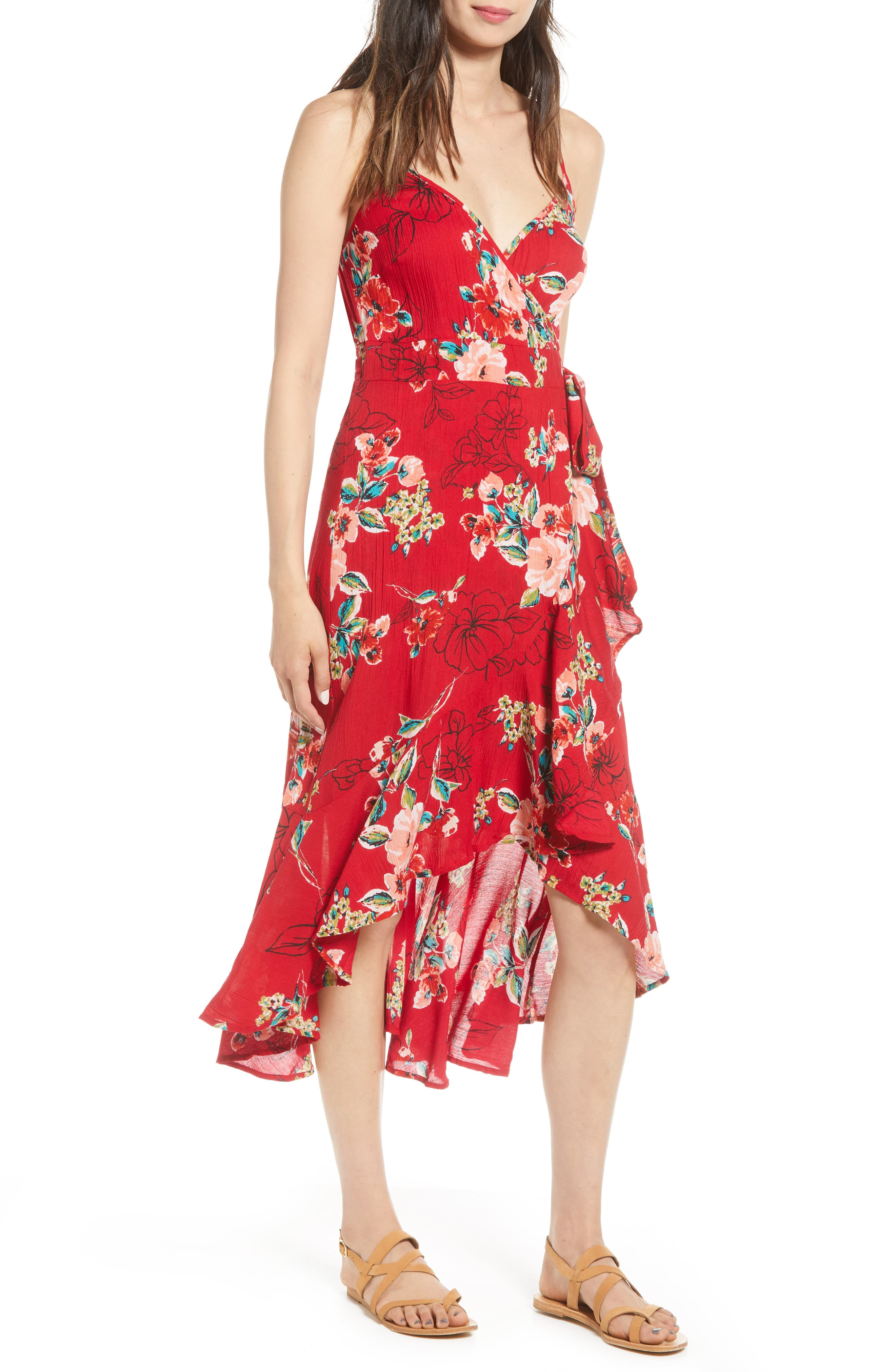 Band Of Gypsies Delphine Wrap High/low Dress, Red