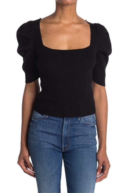 Image of Lush Short Puff Sleeve Ribbed Crop Top