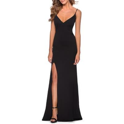 La Femme Strappy Back Jersey Gown, Black