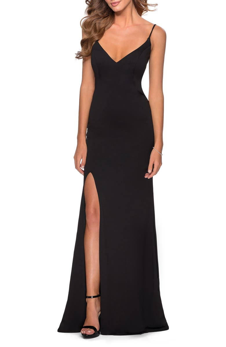 LA FEMME Strappy Back Jersey Gown, Main, color, BLACK