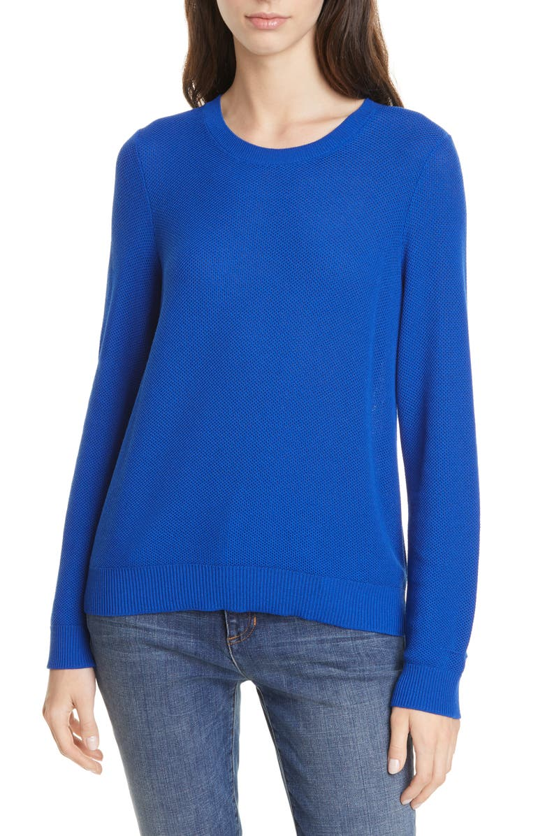 EILEEN FISHER Tencel<sup>®</sup> Lyocell Blend Sweater, Main, color, ROYAL