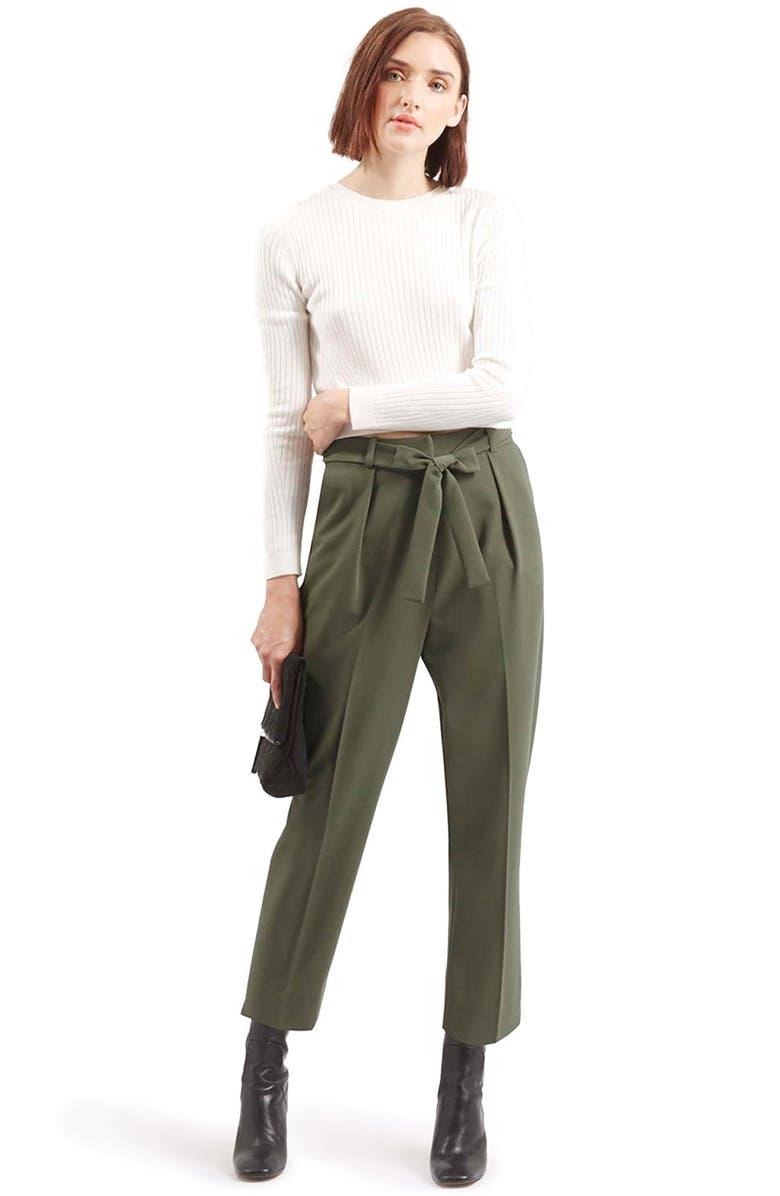 TOPSHOP Crepe Peg Trousers, Main, color, 250