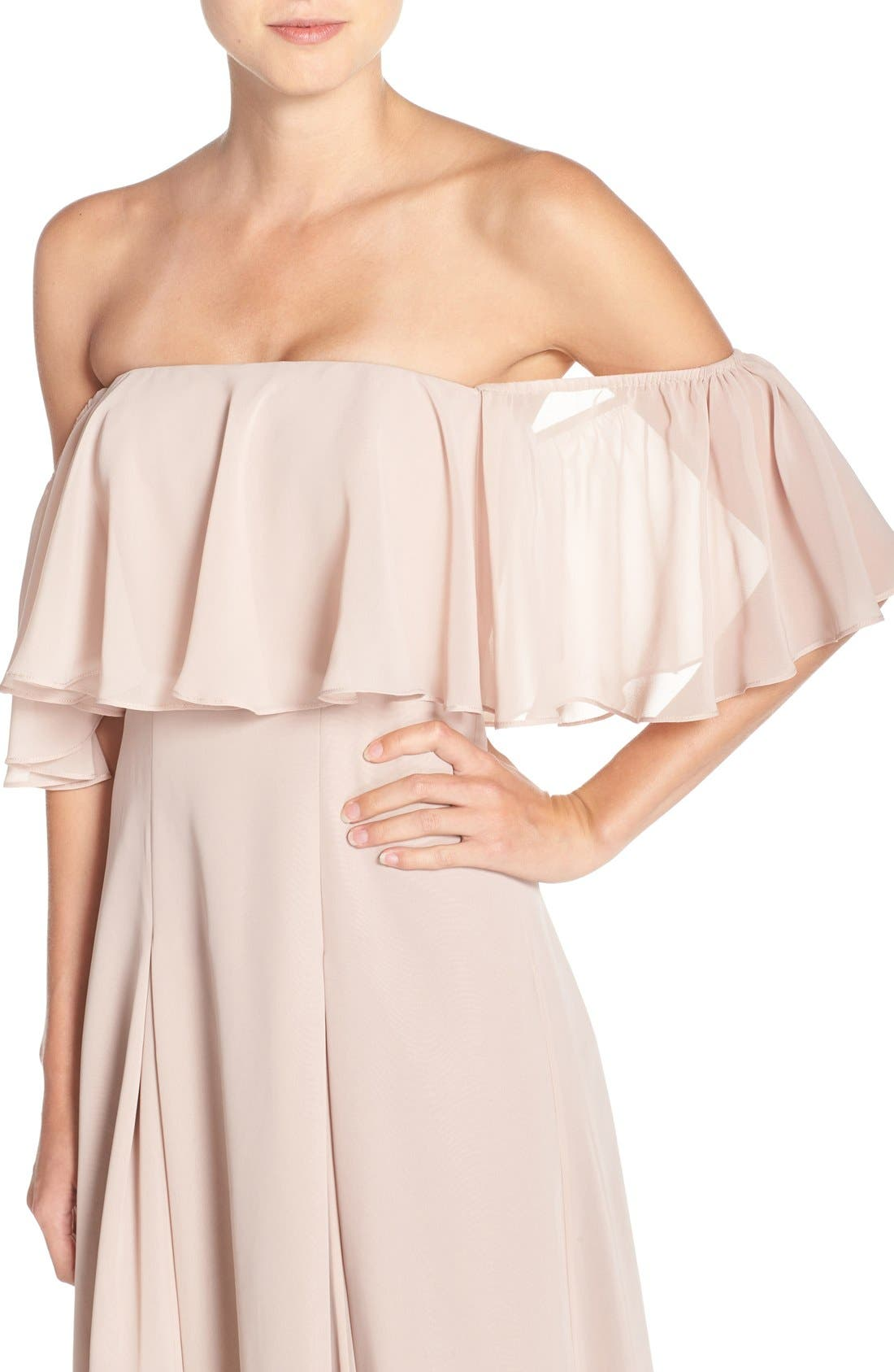 ,                             Off the Shoulder Chiffon Gown,                             Alternate thumbnail 11, color,                             685