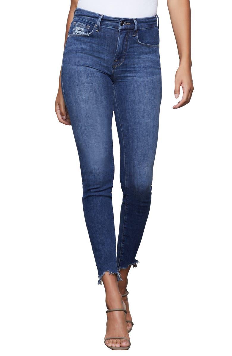 GOOD AMERICAN Good Legs High Waist Raw Hem Skinny Jeans, Main, color, BLUE