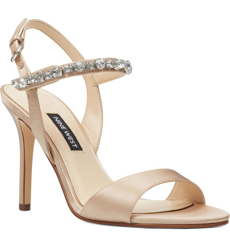 NINE WEST Madison Crystal Embellished Sandal, Main, color, NUDE SATIN
