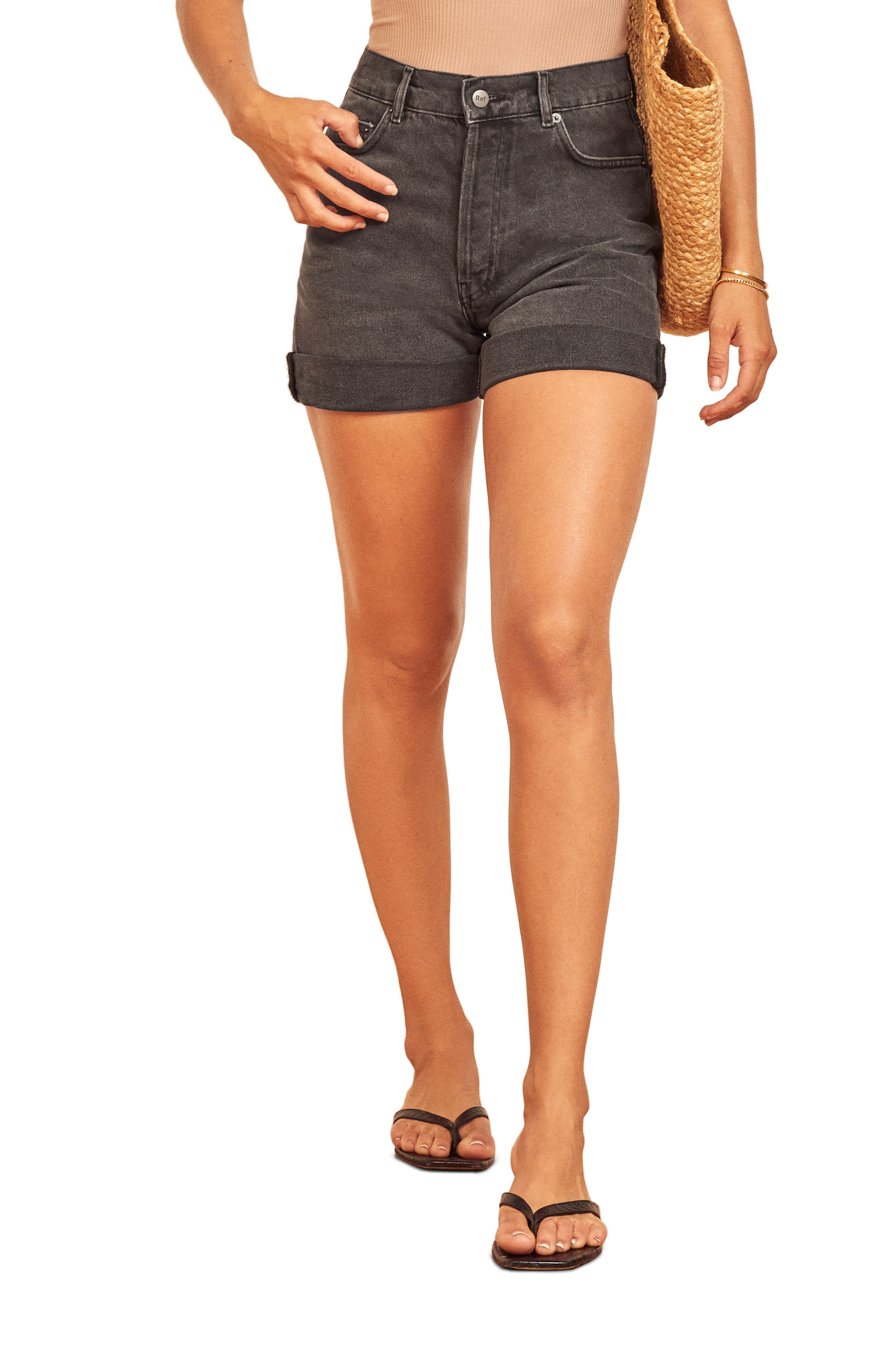 These denim shorts made with Tencel lyocell and organic cotton feature a relaxed fit and fraying cuffed hems for a cool, boyish look. Style Name: Reformation Max Relaxed Denim Shorts. Style Number: 6036518. Available in stores.