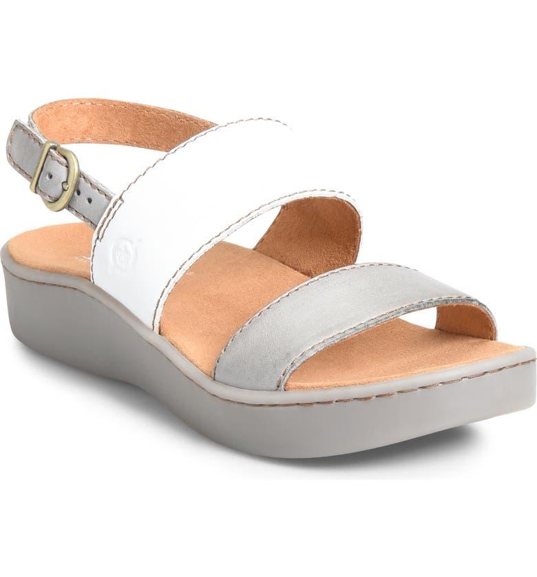 BØRN Oconee Platform Sandal, Main, color, GREY/ WHITE LEATHER
