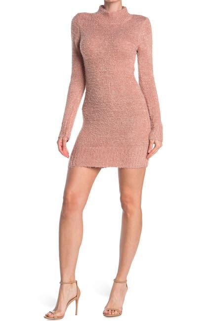 Image of PLANET GOLD Mock Neck Eyelash Knit Sweater Dress