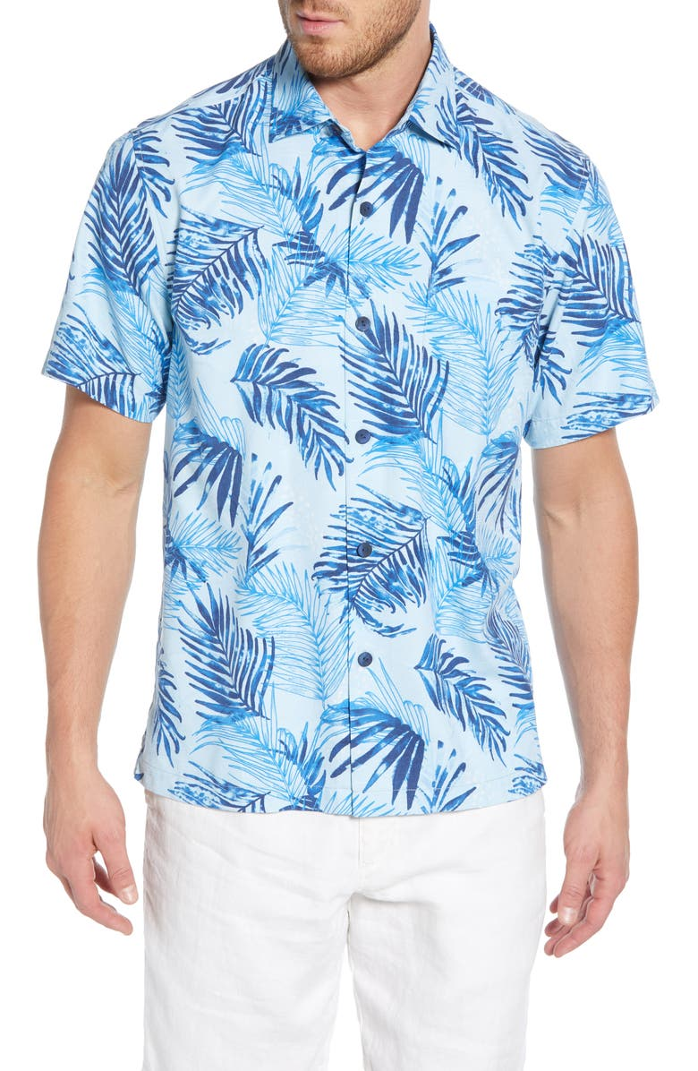 TOMMY BAHAMA Adriatic Fronds Silk Blend Shirt, Main, color, OPAL