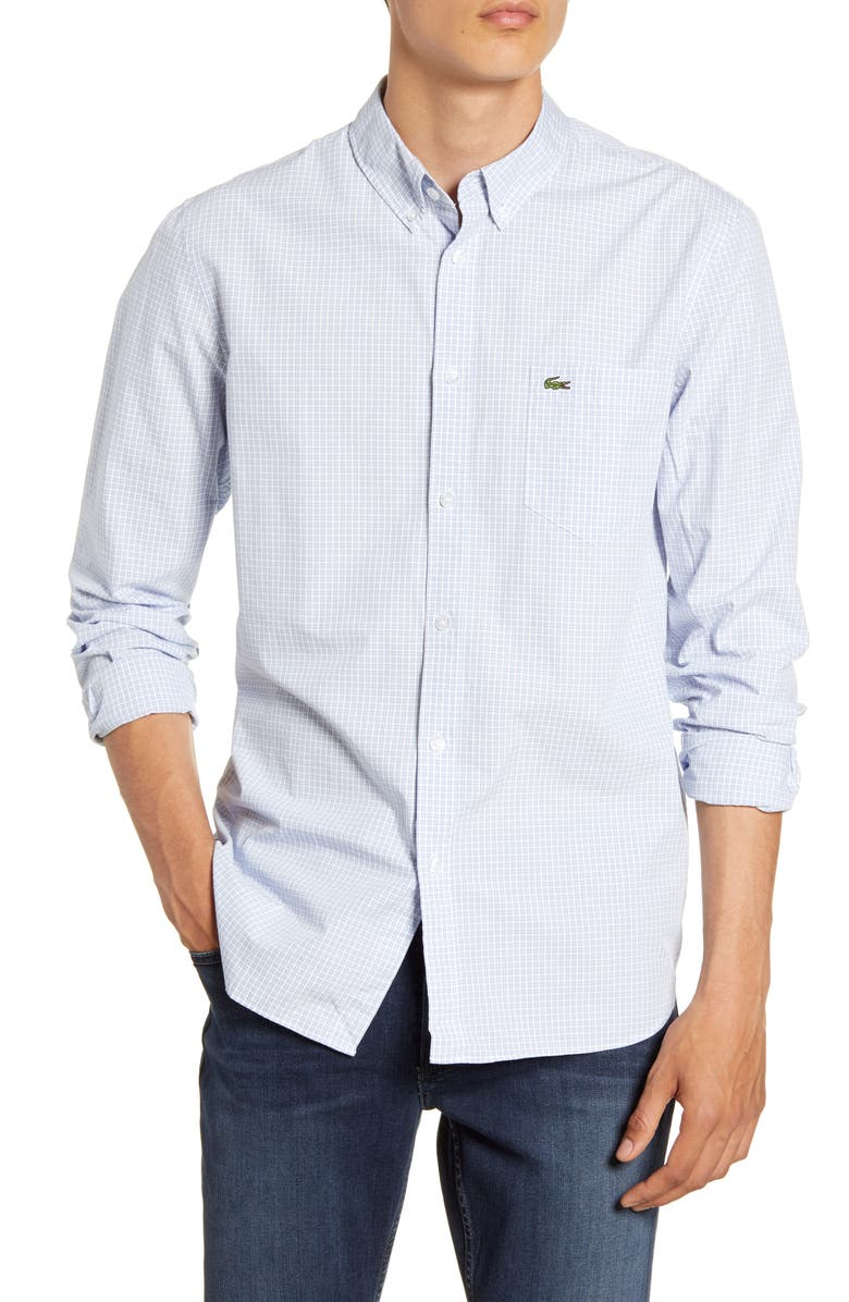LACOSTE Regular Fit Check Sport Shirt, Main, color, 430