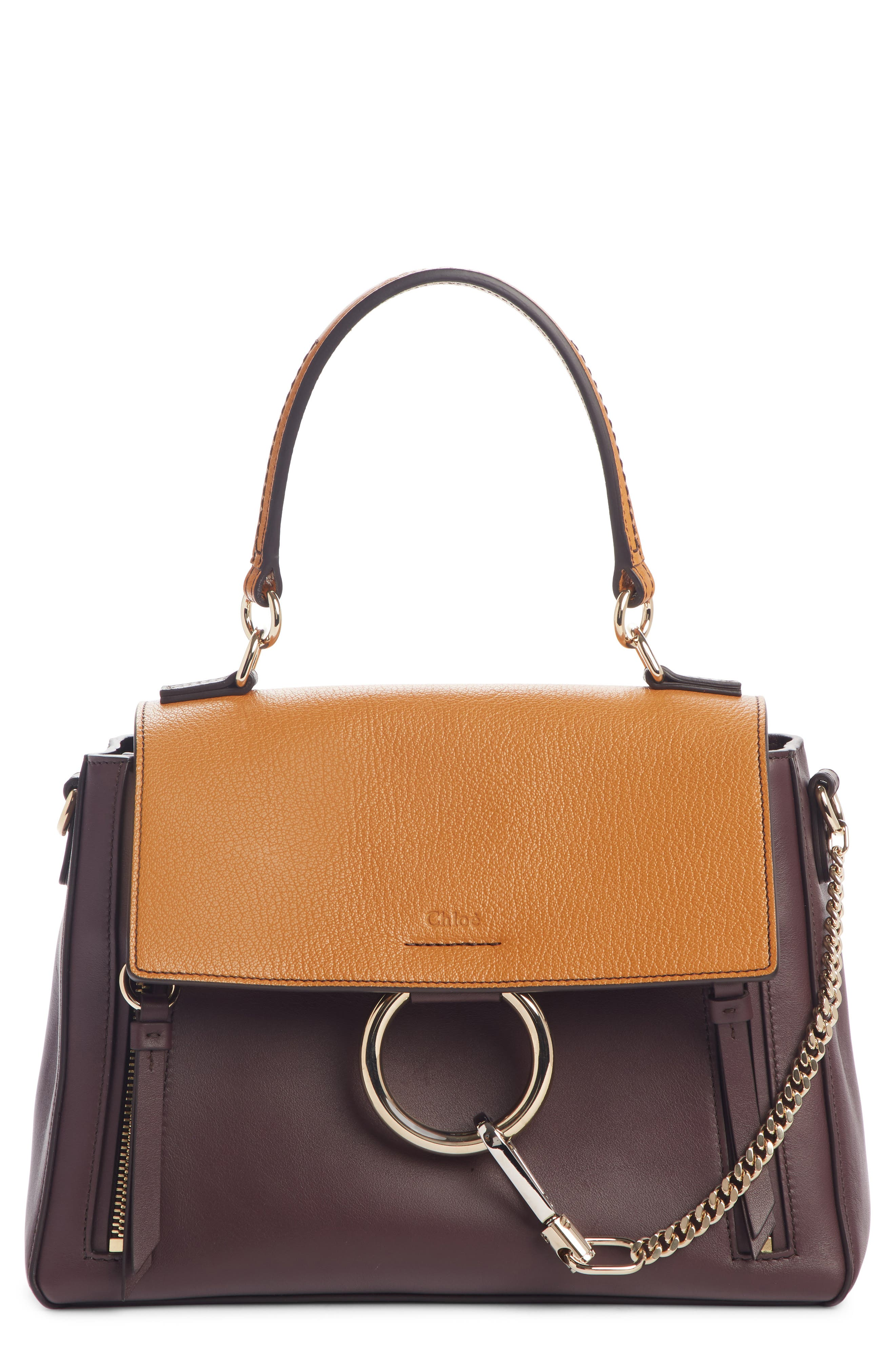 ,                             Small Faye Day Leather Shoulder Bag,                             Main thumbnail 1, color,                             PURPLE/ BROWN
