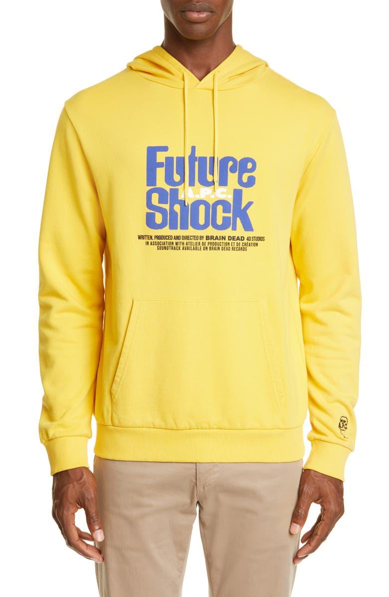 A.P.C. Spacy 'Future Shock' Hooded Sweatshirt, Main, color, JAUNE