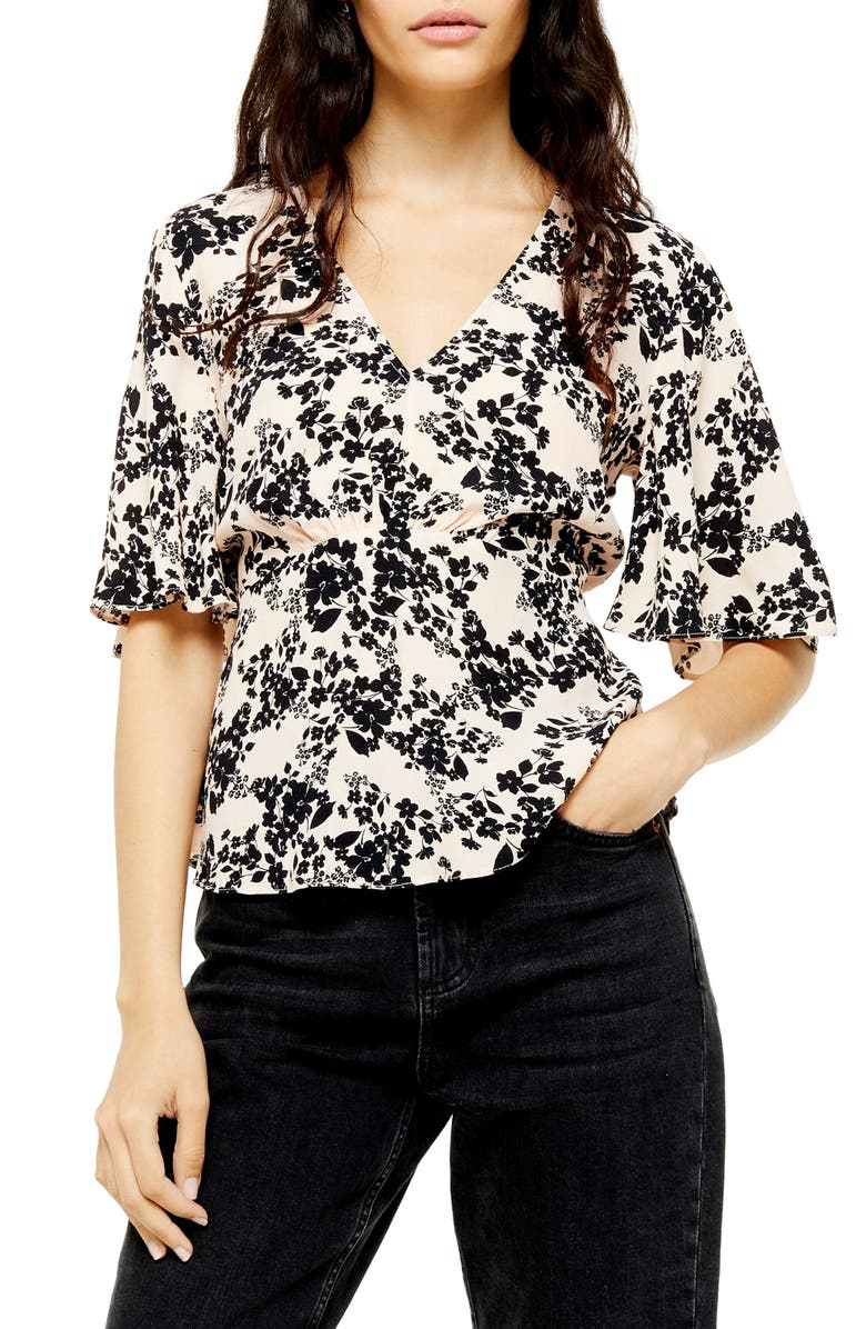TOPSHOP Austin Black Meadow Floral Blouse, Main, color, NUDE