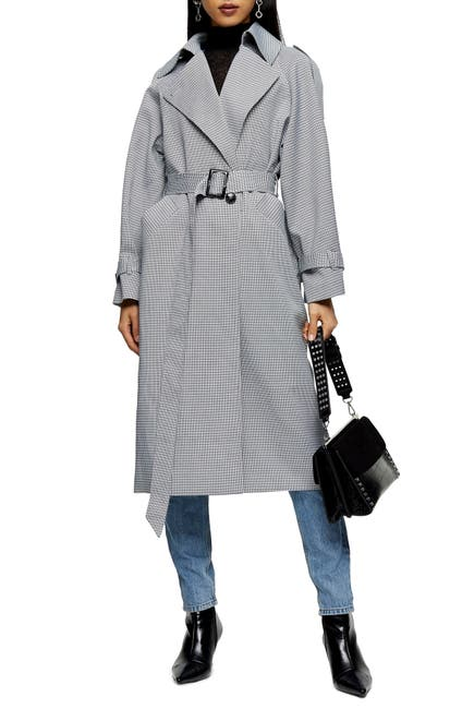 Image of TOPSHOP Cortez Check Trench Coat