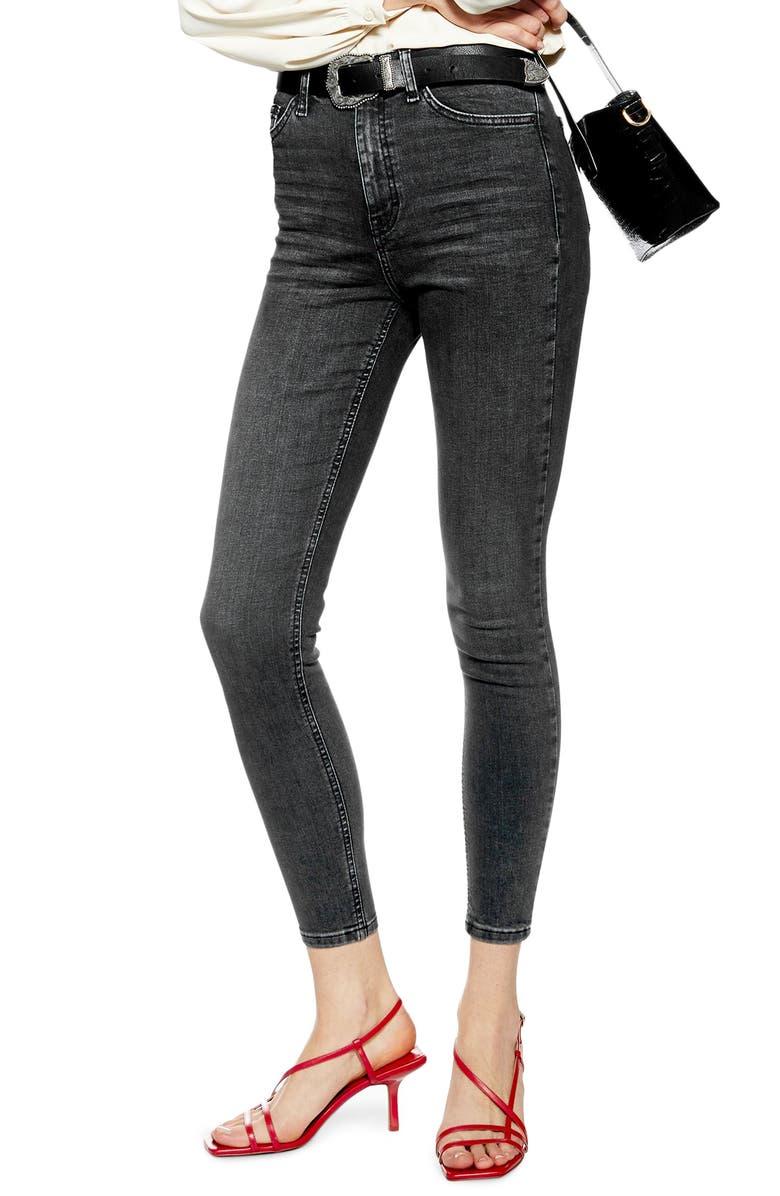 TOPSHOP Jamie High Waist Crop Skinny Jeans, Main, color, WASHED BLACK
