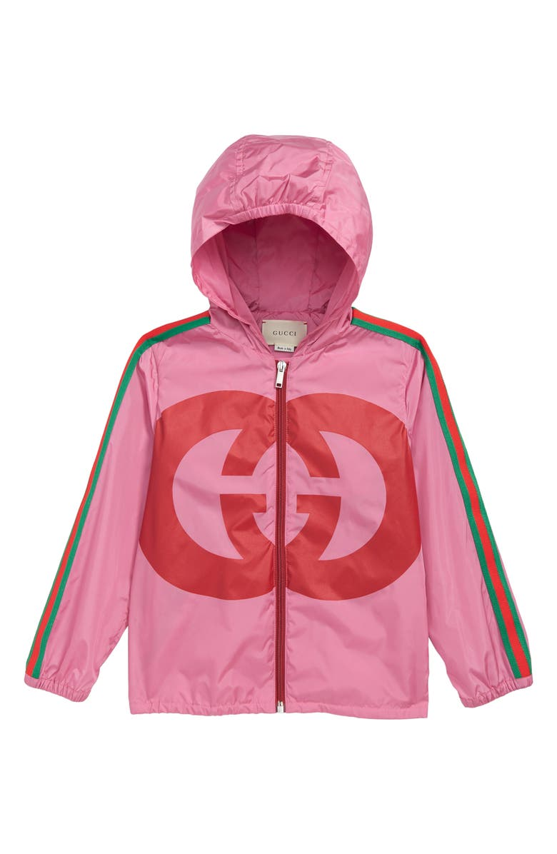 GUCCI Full Zip Hooded Jacket, Main, color, ORTENSIA BLOOM
