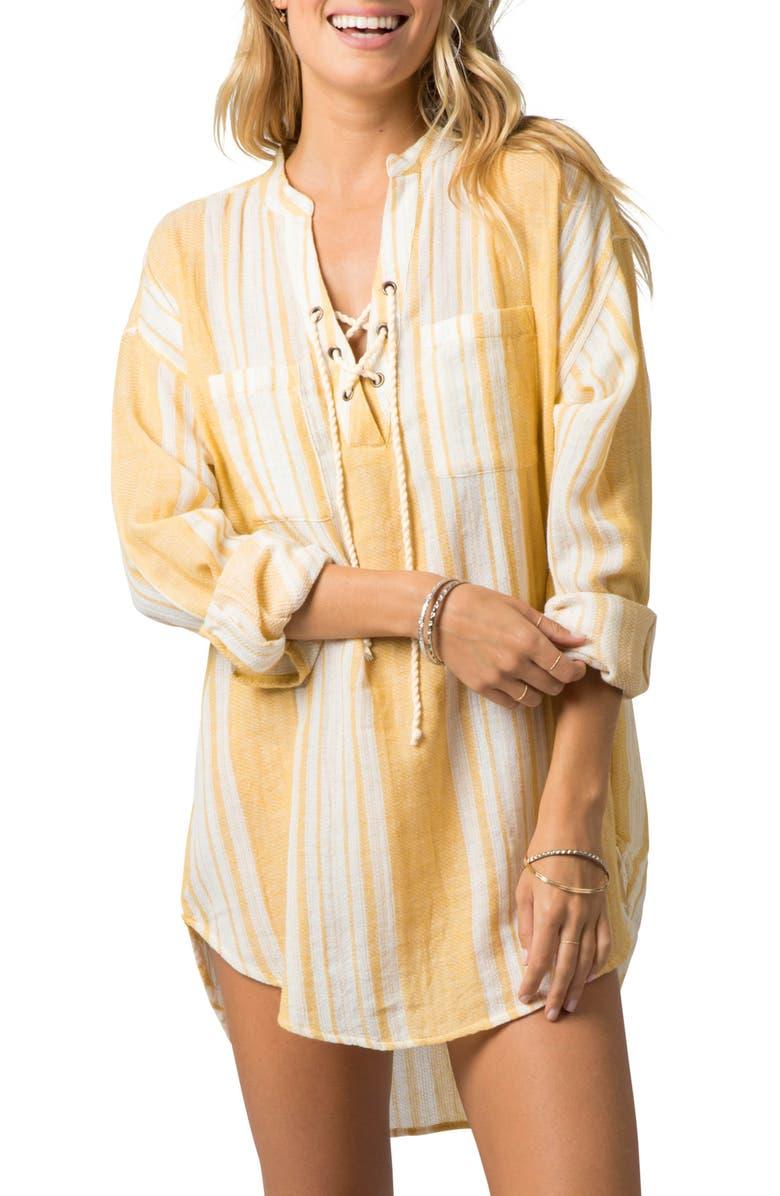RIP CURL Seaside Stripe Tunic Shirt, Main, color, GOLD