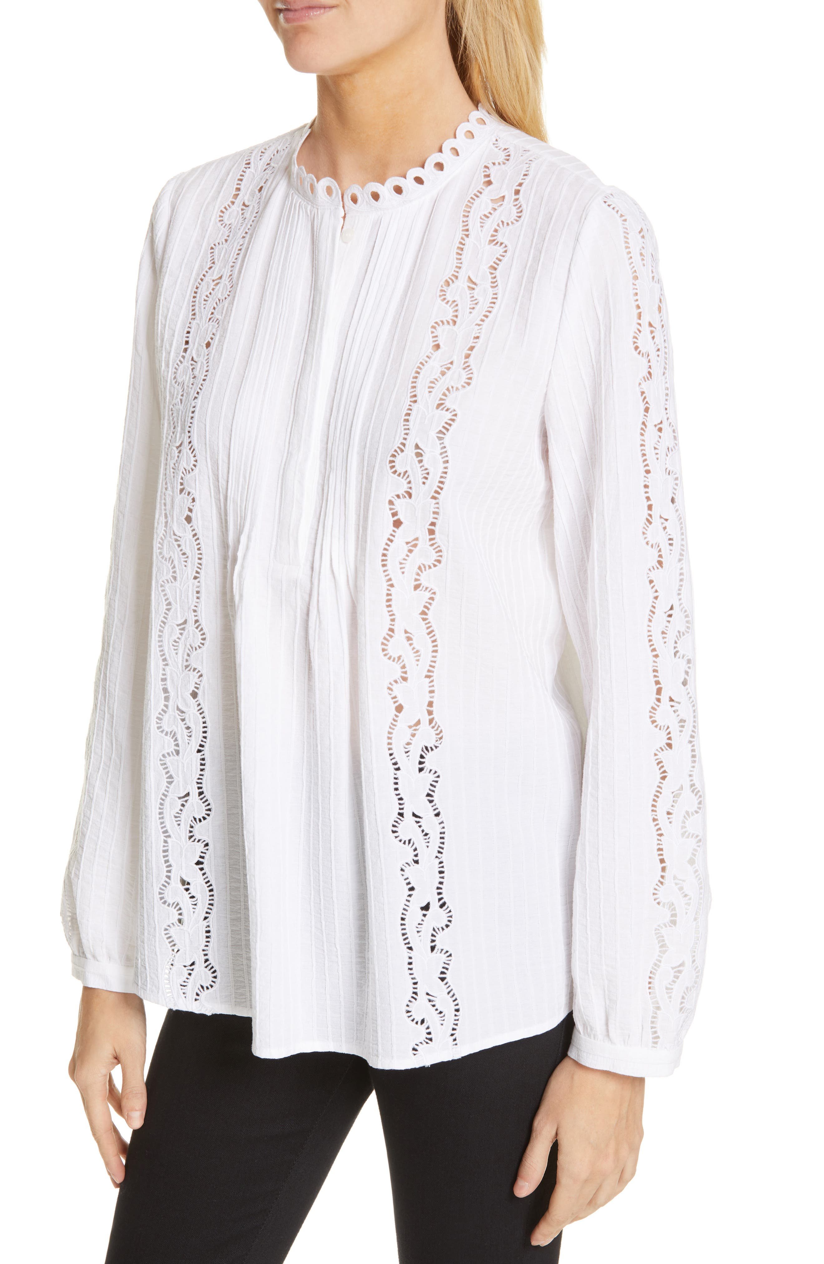 ,                             Embroidered Pleated Blouse,                             Alternate thumbnail 4, color,                             WHITE