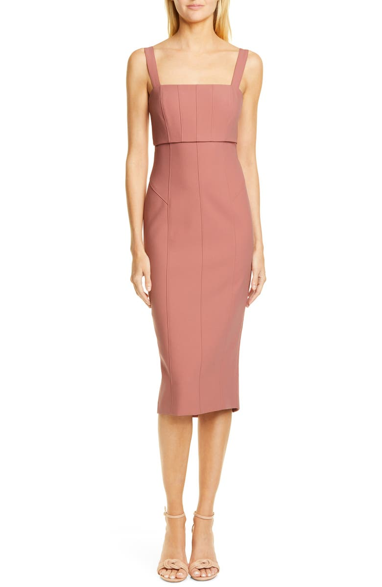 CINQ À SEPT Dakota Back Cutout Body-Con Midi Dress, Main, color, ROSEWOOD
