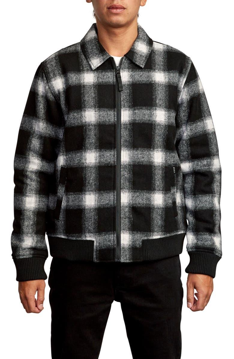 RVCA Kickin Plaid Flannel Bomber Jacket, Main, color, 001