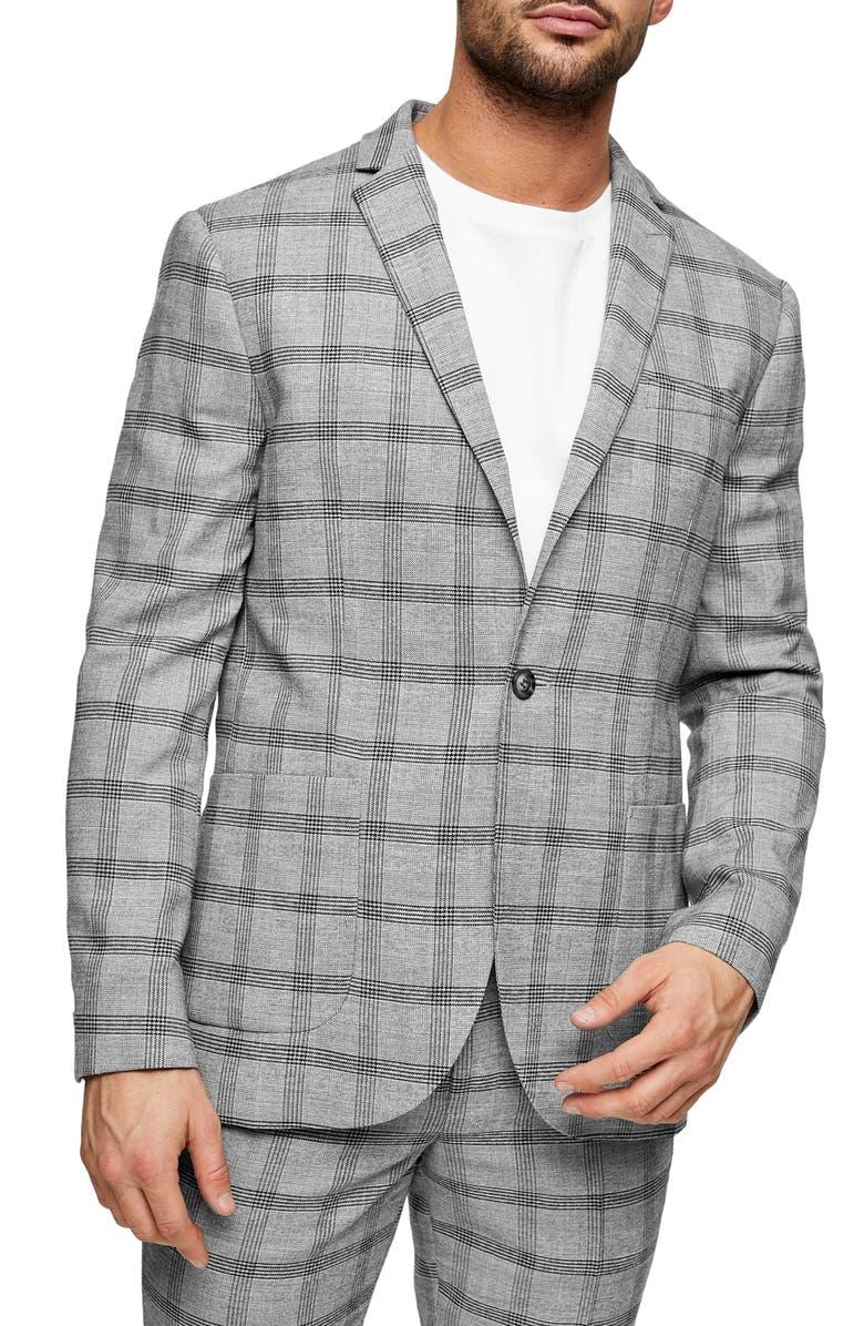 TOPMAN Check Slim Fit Suit Blazer, Main, color, GREY