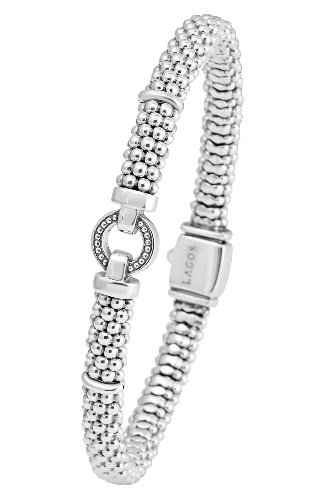 ,                             Enso Boxed Circle Station Caviar Rope Bracelet,                             Alternate thumbnail 5, color,                             STERLING SILVER