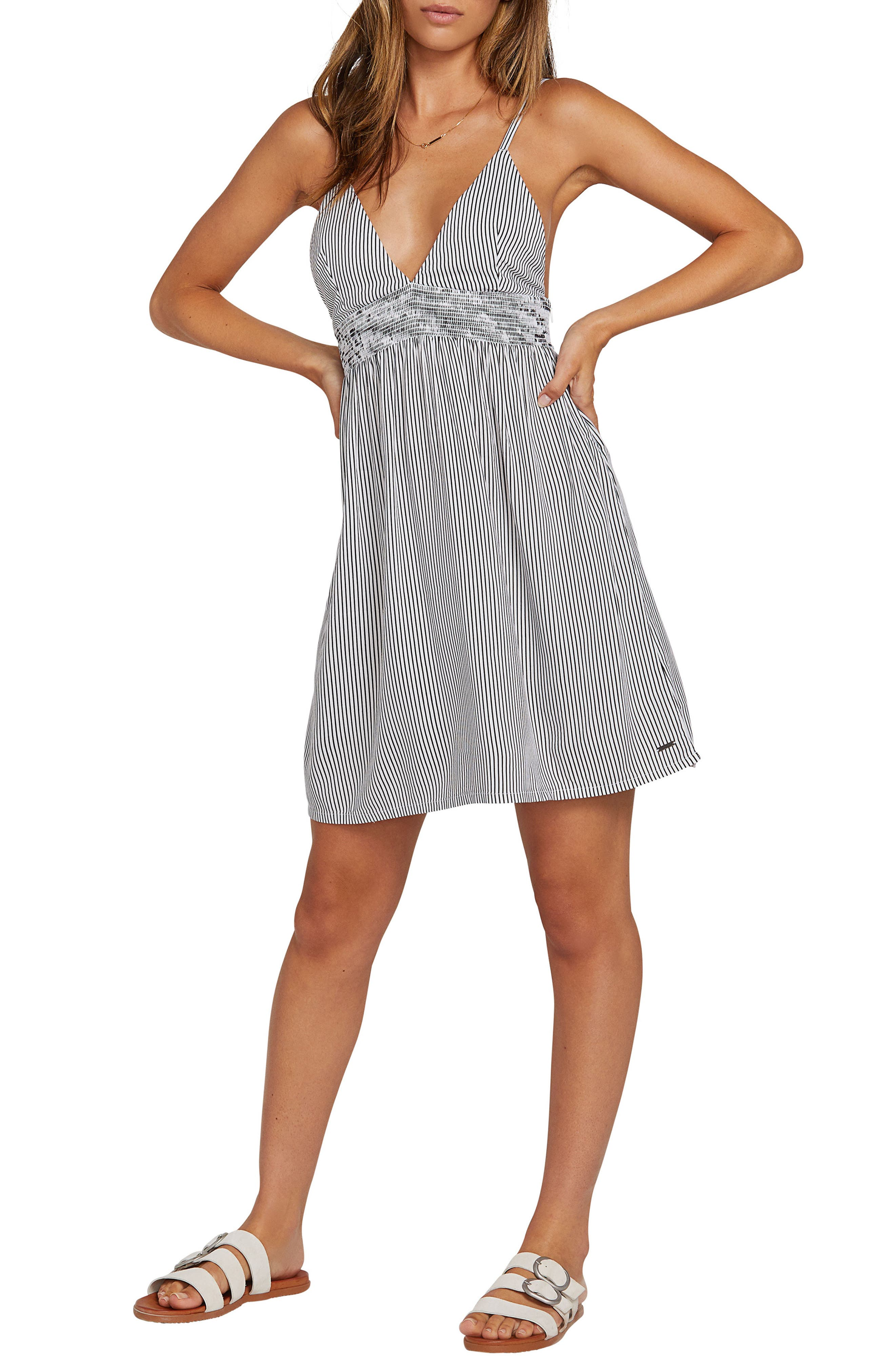 Volcom Smock Of Segulz Stripe Minidress, Black
