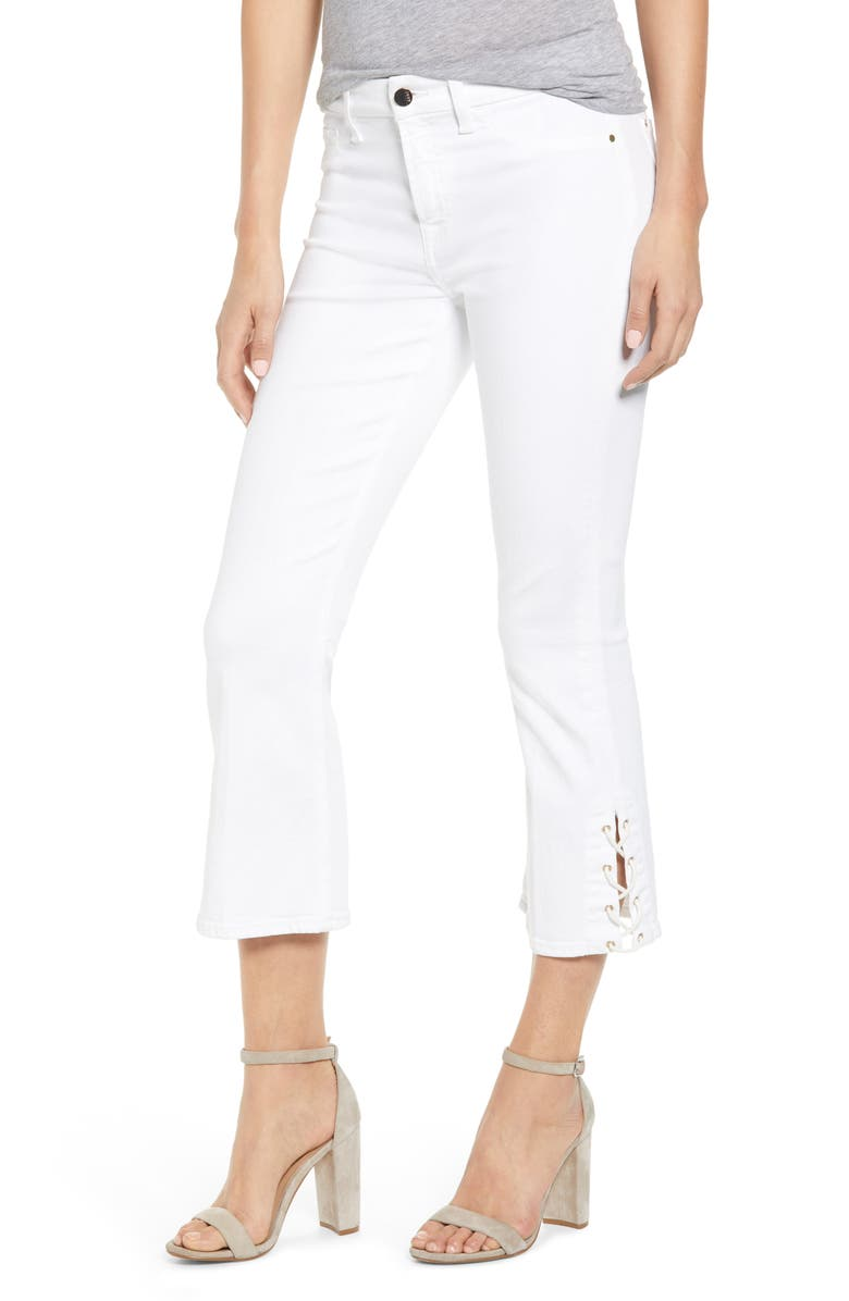 JEN7 BY 7 FOR ALL MANKIND Lace-Up Hem Crop Bootcut Jeans, Main, color, WHITE