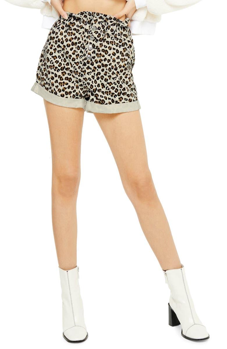 TOPSHOP Leopard Paperbag Denim Shorts, Main, color, BROWN MULTI