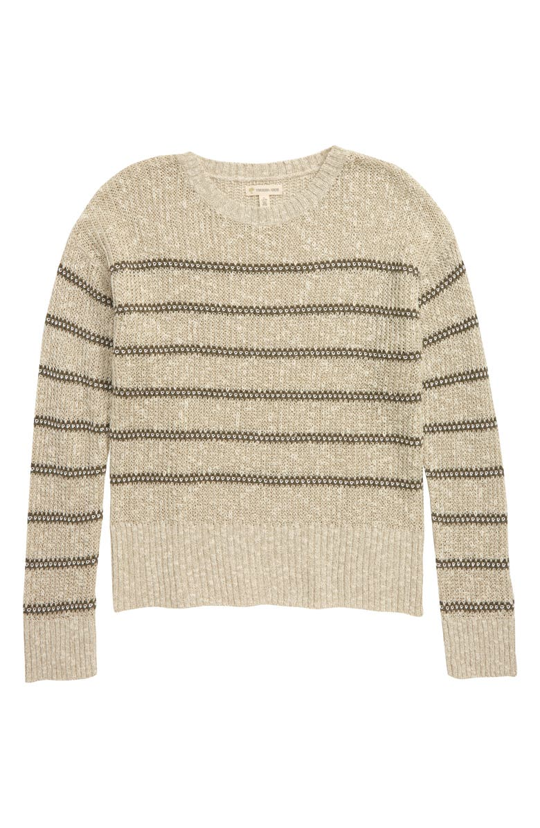 TUCKER + TATE Saturday Sweater, Main, color, IVORY EGRET- OLIVE STRIPE