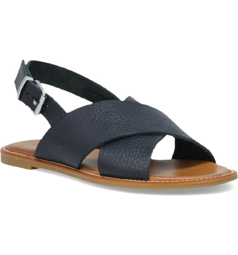 INUOVO Faust Slingback Sandal, Main, color, BLACK LEATHER