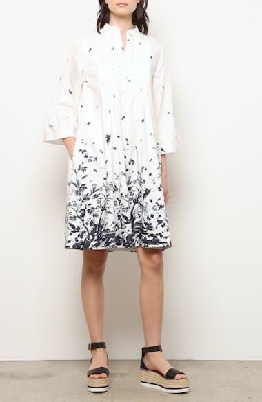 Floral Pintuck Cotton Poplin Shift Dress, video thumbnail