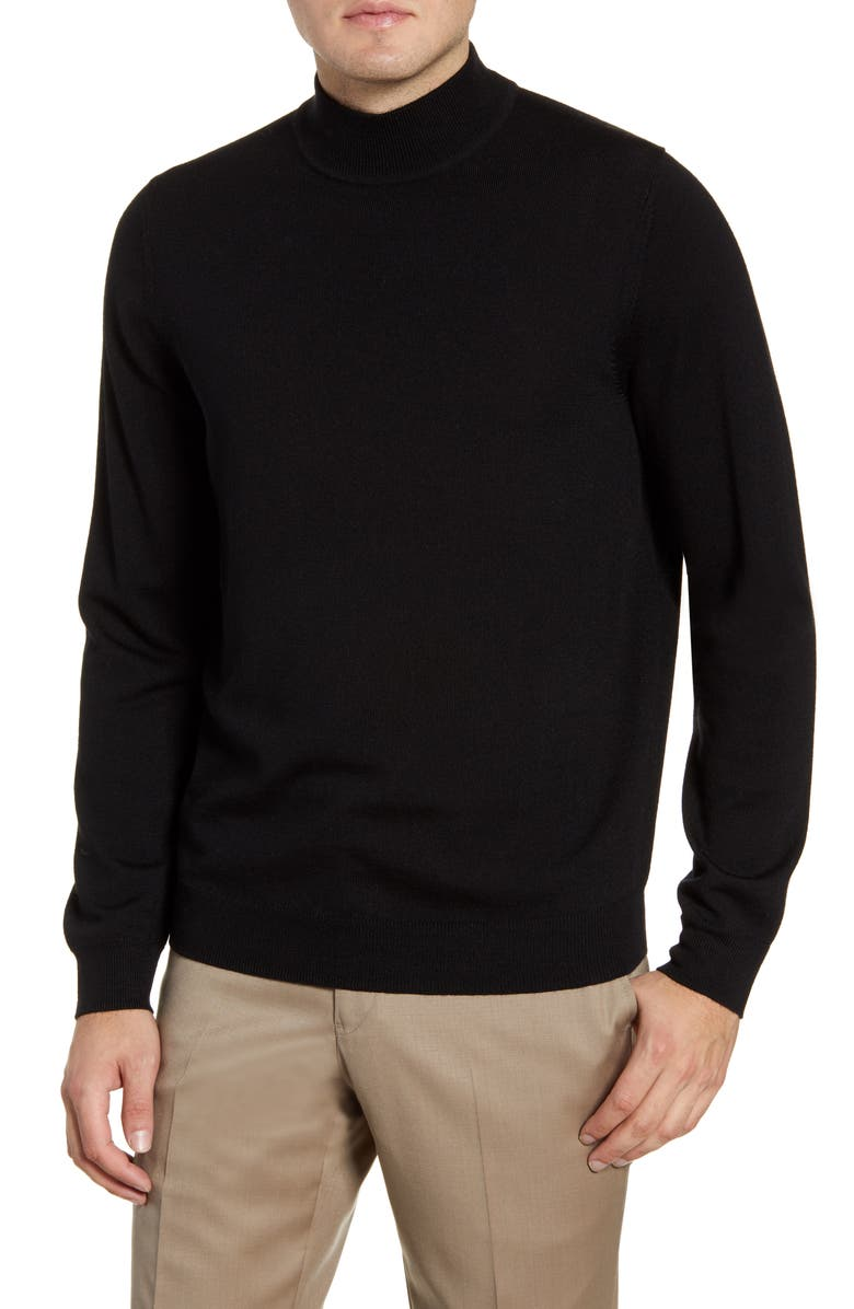 NORDSTROM MEN'S SHOP Mock Neck Merino Wool Sweater, Main, color, BLACK CAVIAR