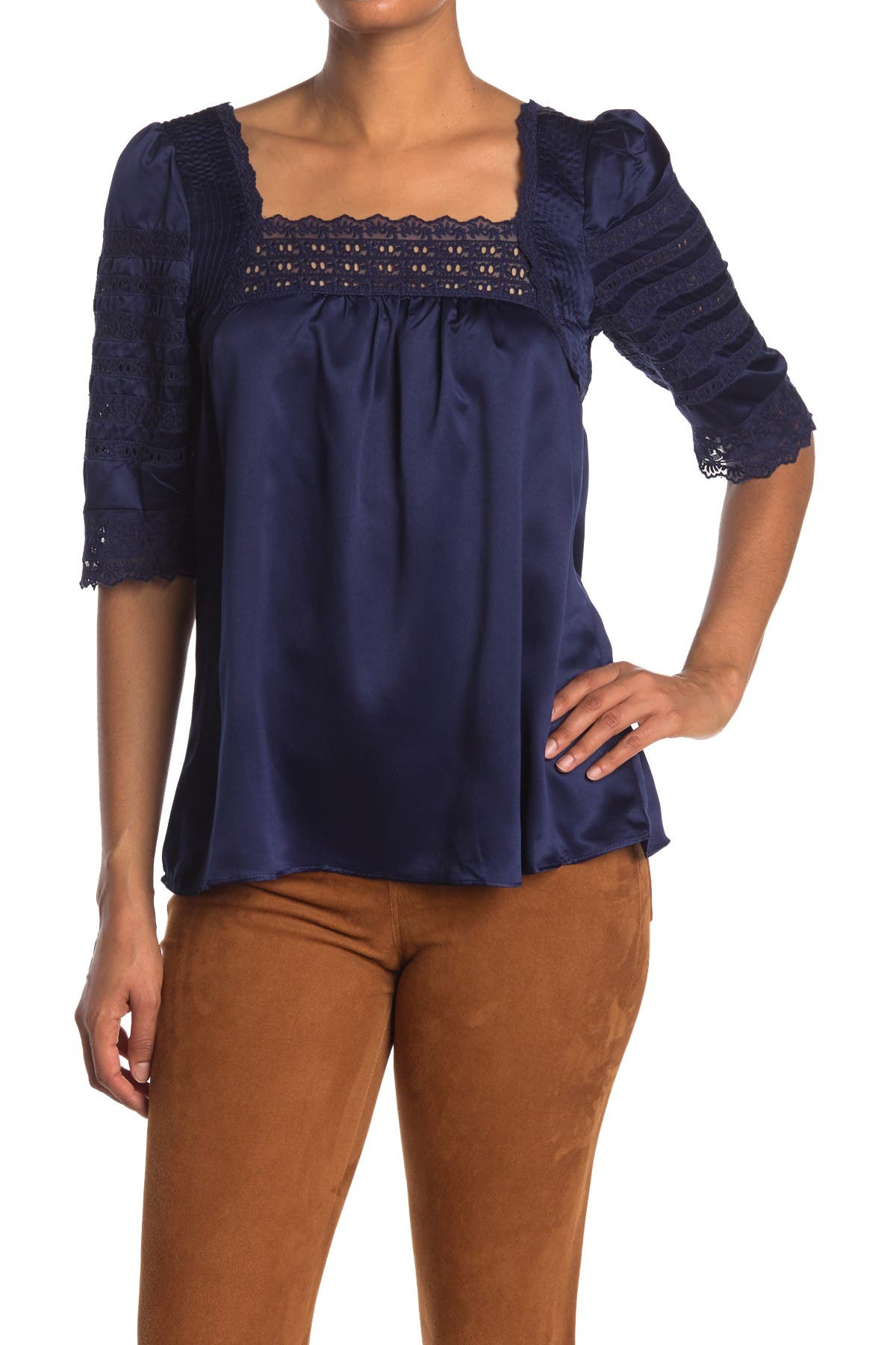 Image of Vertigo Lace Detail Satin Blouse