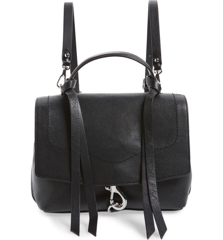 REBECCA MINKOFF Medium Stella Convertible Leather Satchel, Main, color, BLACK