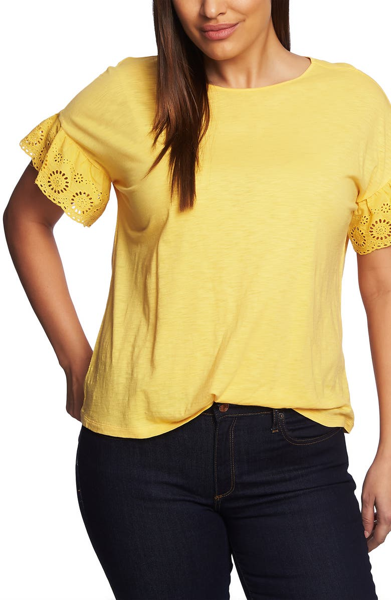 CECE Eyelet Sleeve Cotton Blend Top, Main, color, 745