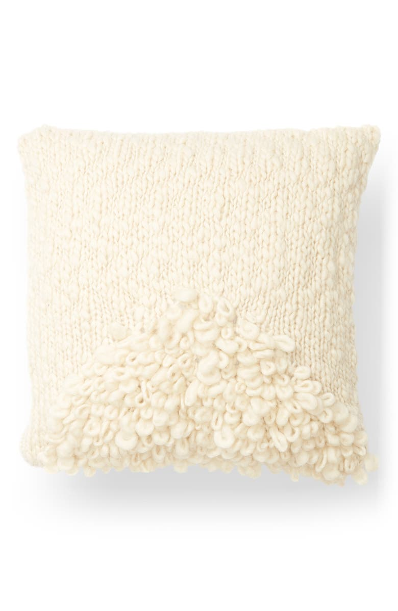 MINNA Moon Wool & Silk Shag Accent Pillow, Main, color, CREAM