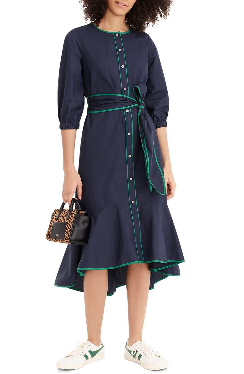 J.CREW Tipped Cotton Poplin Dress, Main, color, 485